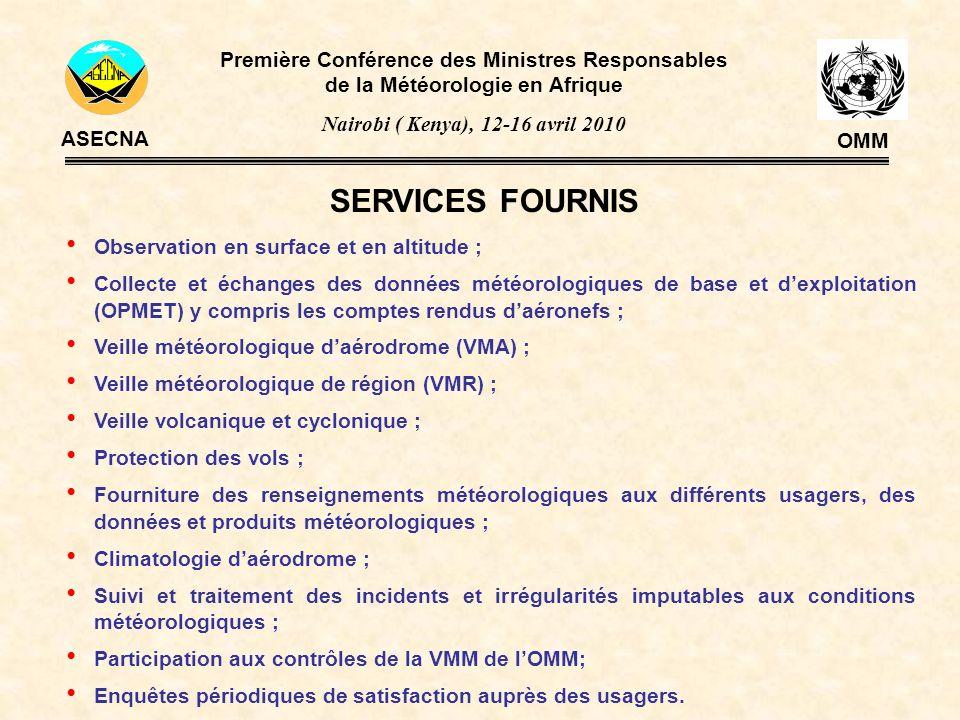 Première Conférence des Ministres Responsables de la Météorologie en Afrique Nairobi ( Kenya), 12-16 avril 2010 ASECNA OMM ETATS BéninBénin BURKinaFASoBURKinaFASo CamerounCameroun CentrafriqueCentrafrique ComoresComores CongoCongo RCIRCI GabonGabon G u i n é e B i s a u G u i n é e E q u a t.