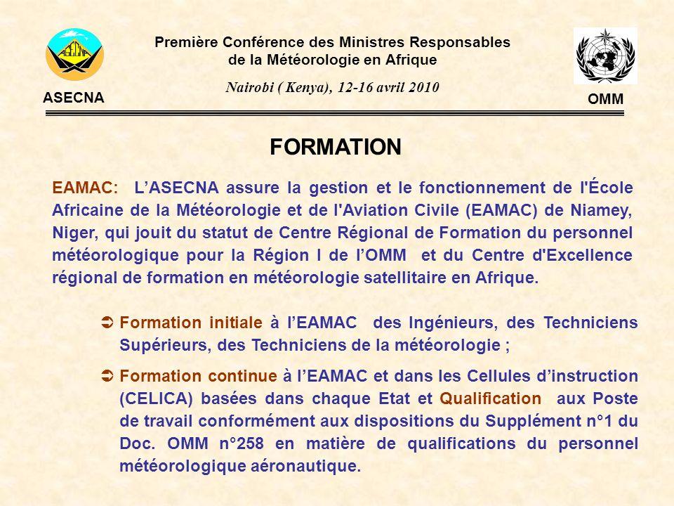 COOPERATION Première Conférence des Ministres Responsables de la Météorologie en Afrique Nairobi ( Kenya), 12-16 avril 2010 ASECNA OMM OMM; OACI; IATA; ENM; EUMETSAT; ACMAD; SMHN des États Membres; SMHN des États Africains non membres; et autres.