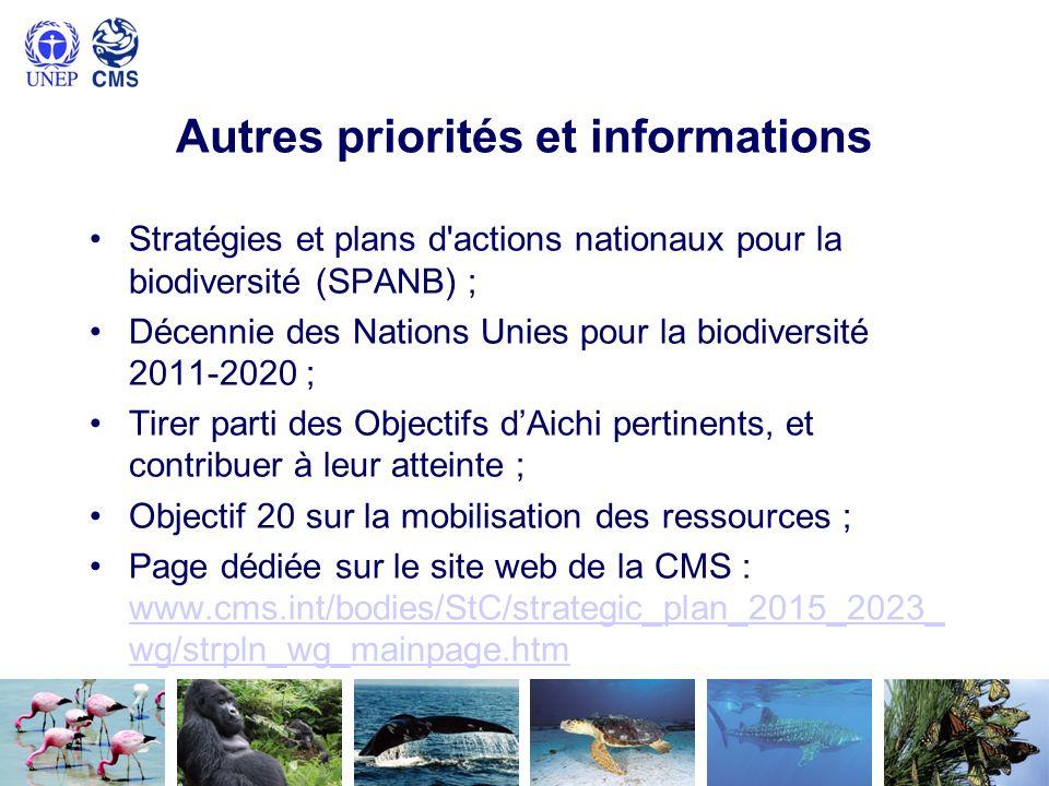 Autres priorités et informations Stratégies et plans d'actions nationaux pour la biodiversité (SPANB) ; Décennie des Nations Unies pour la biodiversit