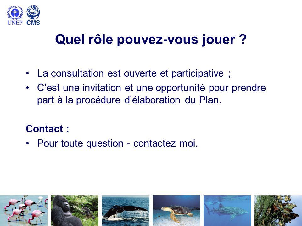 Quel rôle pouvez-vous jouer ? La consultation est ouverte et participative ; Cest une invitation et une opportunité pour prendre part à la procédure d