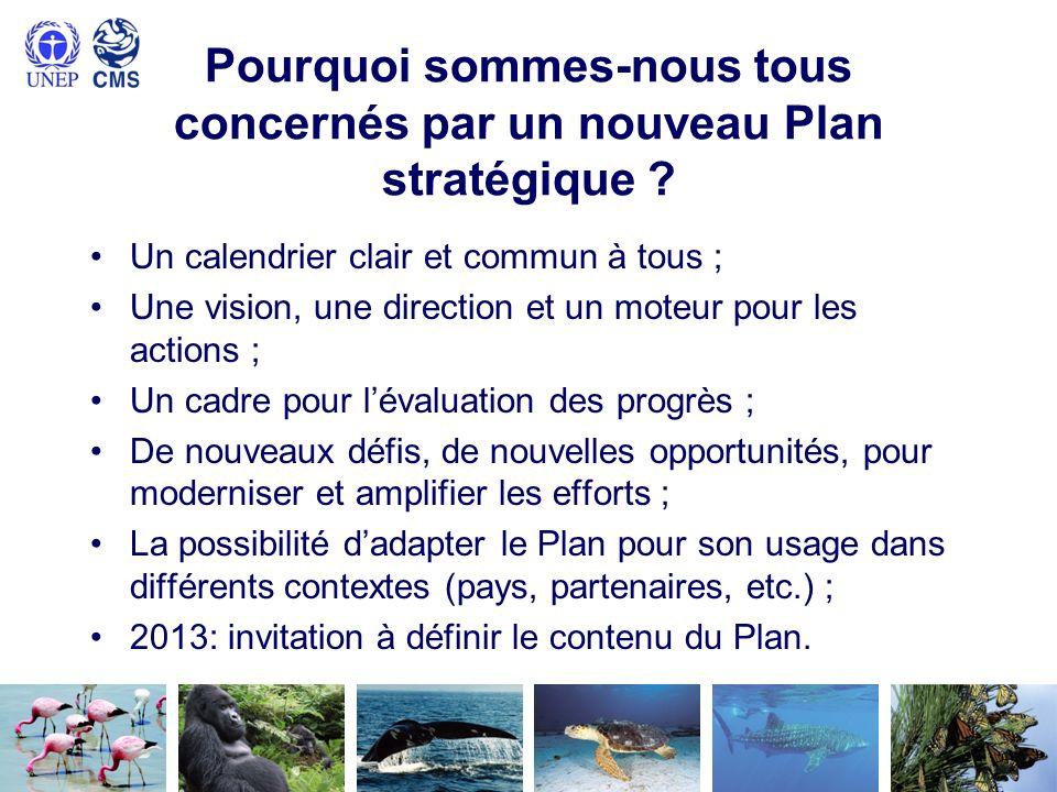 Groupe de travail Actuel Plan stratégique de la CMS (2006-2014) ; Futur Plan stratégique pour 2015-2023 ; Groupe de travail des Parties à la CMS ; Avant-projet du Plan pour la COP11 de la CMS en 2014 ; Observateurs activement impliqués et toujours bienvenus ; Importance de la transparence ; Synthèse de la mise en œuvre actuelle et des enseignements tirés ; Première réunion, 5-6 novembre 2012 à Bonn.