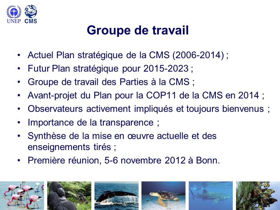 Groupe de travail Actuel Plan stratégique de la CMS (2006-2014) ; Futur Plan stratégique pour 2015-2023 ; Groupe de travail des Parties à la CMS ; Ava