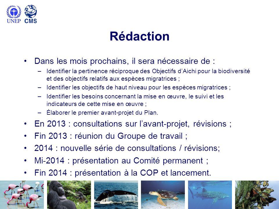 Rédaction Dans les mois prochains, il sera nécessaire de : –Identifier la pertinence réciproque des Objectifs dAichi pour la biodiversité et des objec