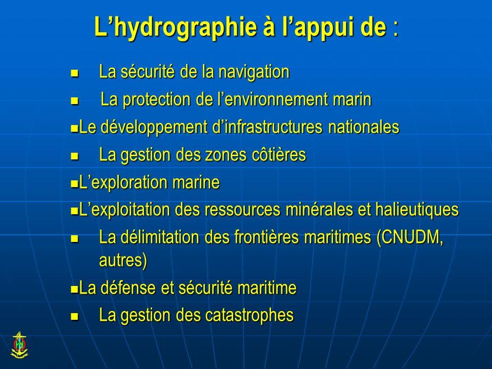 Lhydrographie à lappui de : La sécurité de la navigation La sécurité de la navigation La protection de lenvironnement marin La protection de lenvironn