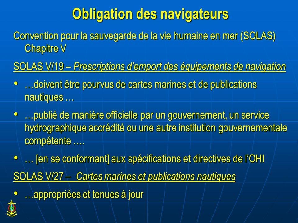 Obligation des navigateurs Convention pour la sauvegarde de la vie humaine en mer (SOLAS) Chapitre V SOLAS V/19 – Prescriptions demport des équipement