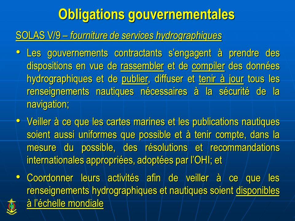 Obligations gouvernementales SOLAS V/9 – fourniture de services hydrographiques Les gouvernements contractants sengagent à prendre des dispositions en