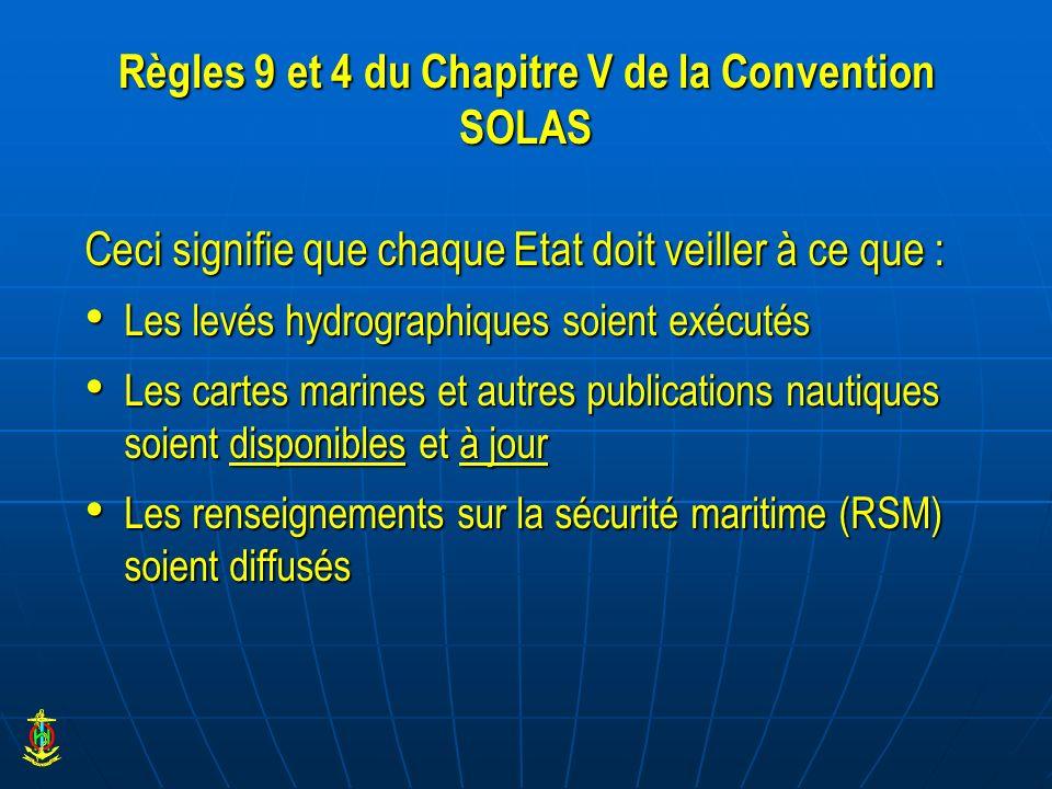 Règles 9 et 4 du Chapitre V de la Convention SOLAS Ceci signifie que chaque Etat doit veiller à ce que : Les levés hydrographiques soient exécutés Les