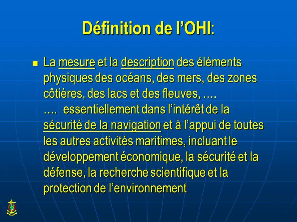 Définition de lOHI : La mesure et la description des éléments physiques des océans, des mers, des zones côtières, des lacs et des fleuves, …. …. essen