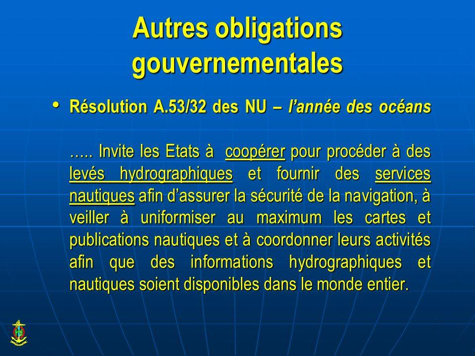 Autres obligations gouvernementales Résolution A.53/32 des NU – lannée des océans ….. Invite les Etats à coopérer pour procéder à des levés hydrograph