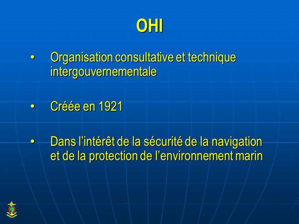 OHI Organisation consultative et technique intergouvernementale Organisation consultative et technique intergouvernementale Créée en 1921 Créée en 192