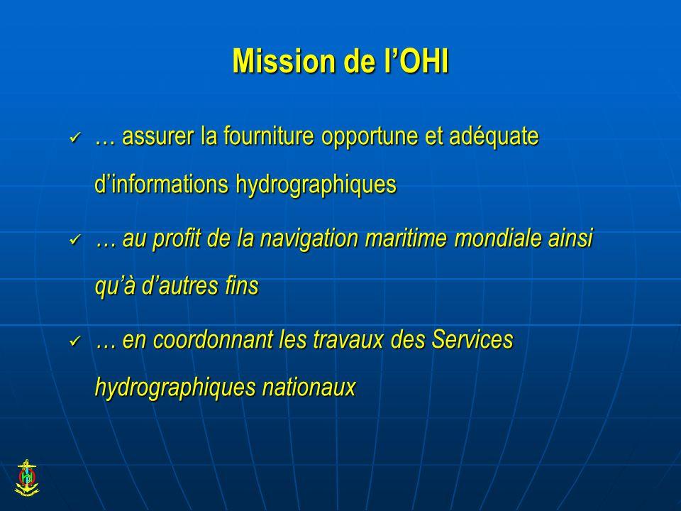 Mission de lOHI … assurer la fourniture opportune et adéquate dinformations hydrographiques … assurer la fourniture opportune et adéquate dinformation