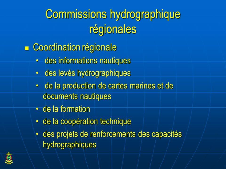 Commissions hydrographique régionales Coordination régionale Coordination régionale des informations nautiques des informations nautiques des levés hy