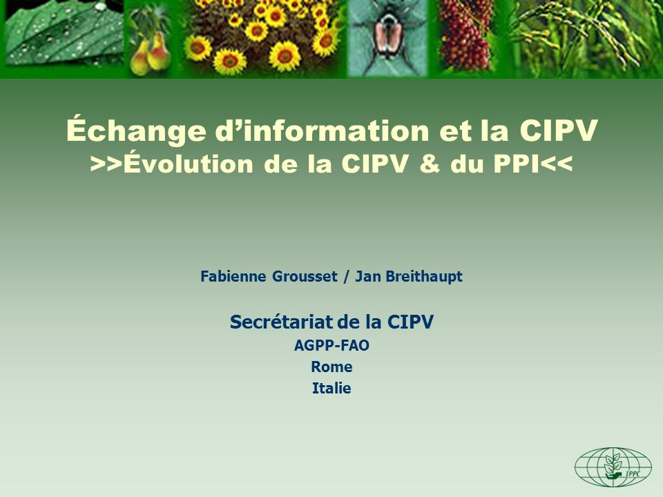 Échange dinformation et la CIPV >>Évolution de la CIPV & du PPI<< Fabienne Grousset / Jan Breithaupt Secrétariat de la CIPV AGPP-FAO Rome Italie