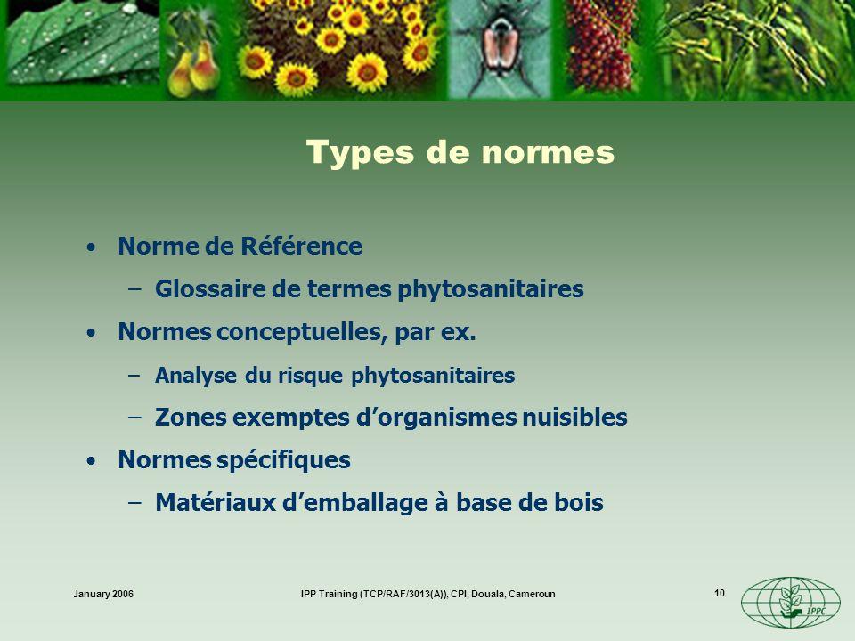 January 2006IPP Training (TCP/RAF/3013(A)), CPI, Douala, Cameroun 10 Types de normes Norme de Référence –Glossaire de termes phytosanitaires Normes co