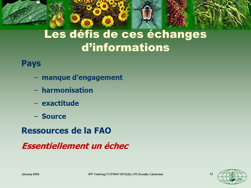 January 2006IPP Training (TCP/RAF/3013(A)), CPI, Douala, Cameroun 12 Les défis de ces échanges dinformations Pays –manque dengagement –harmonisation –