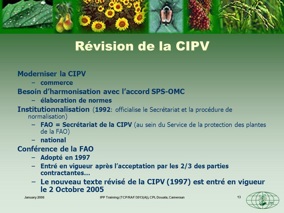 January 2006IPP Training (TCP/RAF/3013(A)), CPI, Douala, Cameroun 13 Révision de la CIPV Moderniser la CIPV –commerce Besoin dharmonisation avec lacco