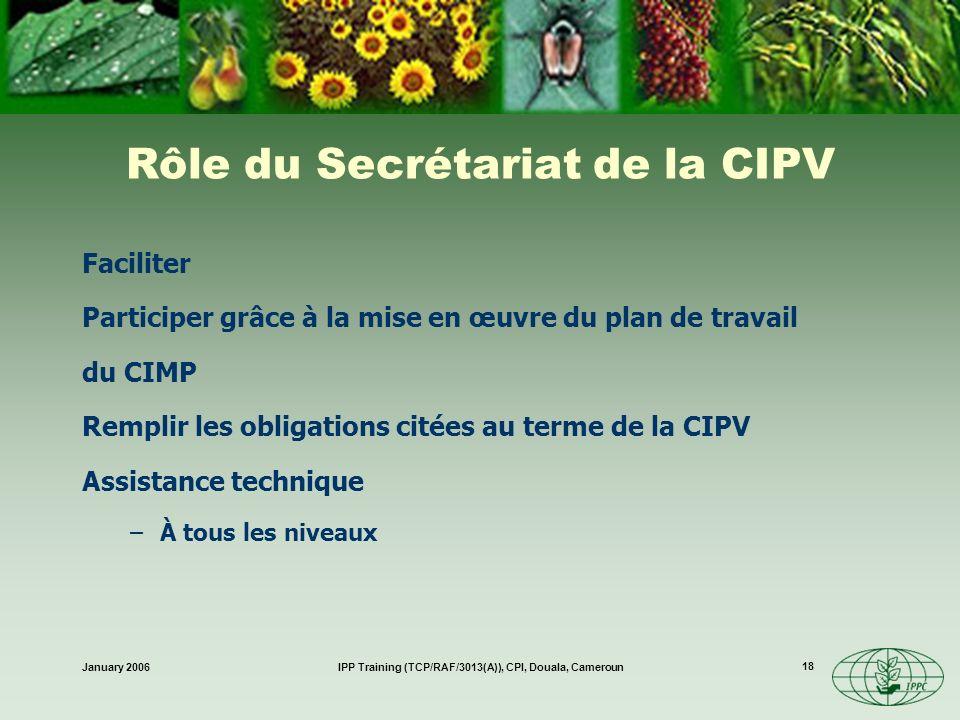 January 2006IPP Training (TCP/RAF/3013(A)), CPI, Douala, Cameroun 18 Rôle du Secrétariat de la CIPV Faciliter Participer grâce à la mise en œuvre du p