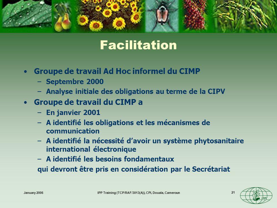 January 2006IPP Training (TCP/RAF/3013(A)), CPI, Douala, Cameroun 21 Facilitation Groupe de travail Ad Hoc informel du CIMP –Septembre 2000 –Analyse i