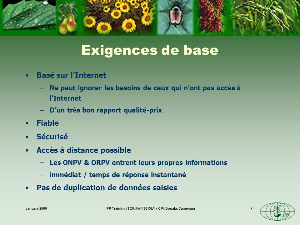 January 2006IPP Training (TCP/RAF/3013(A)), CPI, Douala, Cameroun 23 Exigences de base Basé sur lInternet –Ne peut ignorer les besoins de ceux qui non