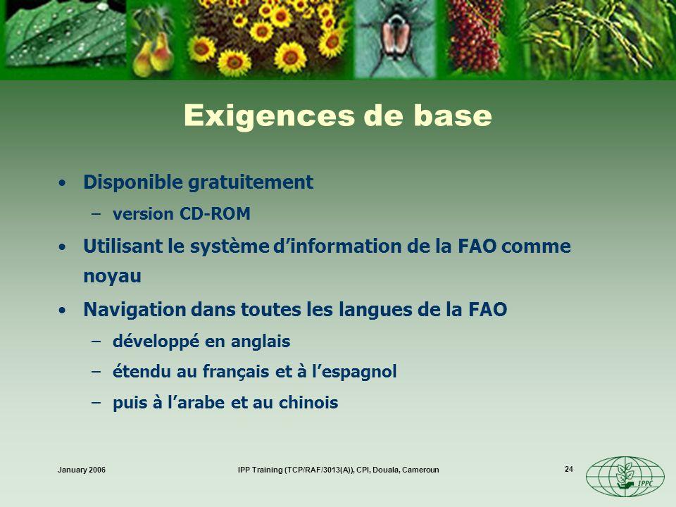 January 2006IPP Training (TCP/RAF/3013(A)), CPI, Douala, Cameroun 24 Exigences de base Disponible gratuitement –version CD-ROM Utilisant le système di