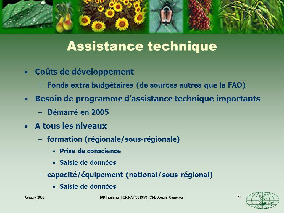 January 2006IPP Training (TCP/RAF/3013(A)), CPI, Douala, Cameroun 27 Assistance technique Coûts de développement –Fonds extra budgétaires (de sources