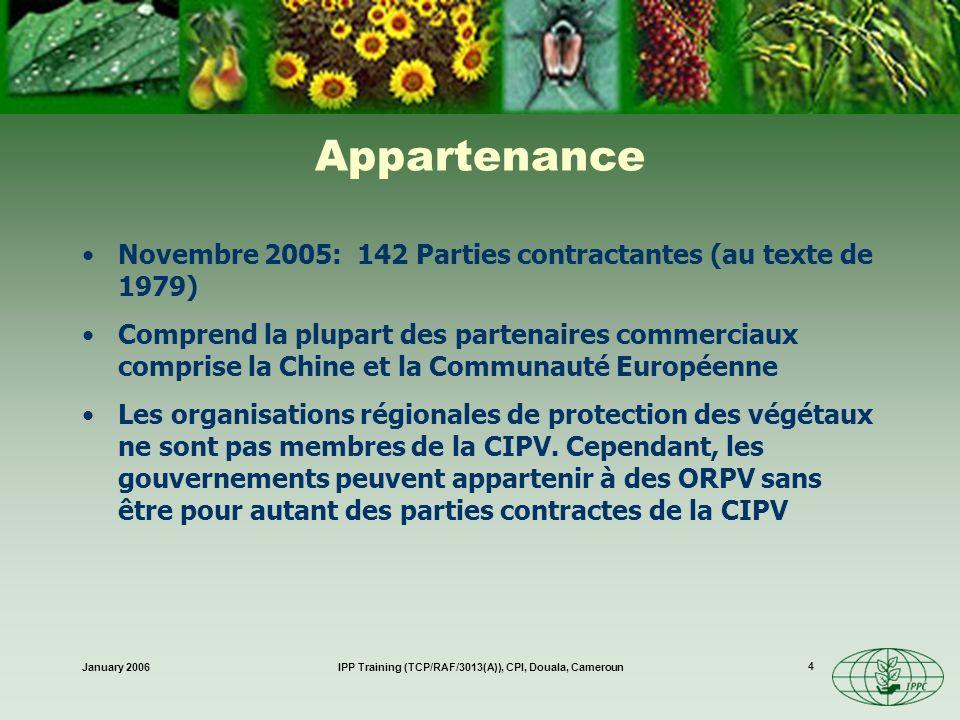 January 2006IPP Training (TCP/RAF/3013(A)), CPI, Douala, Cameroun 15 Harmonisation, justification scientifique pour les mesures, non discrimination, conformité, et équivalence; Un forum sur les problèmes phytosanitaires Assistance technique Mesures intérimaires Amendements de la CIPV (1997)