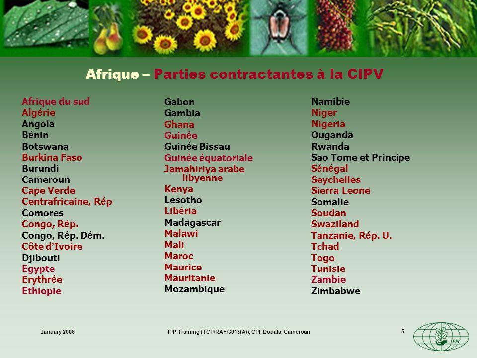 January 2006IPP Training (TCP/RAF/3013(A)), CPI, Douala, Cameroun 6 Champ dapplication de la CIPV Coopération internationale dans la protection des végétaux contre les organismes nuisibles –Les végétaux incluent les forêts et la flore sauvage –Les organismes nuisibles englobent les maladies et les mauvaises herbes –Les dégâts comprennent les effets indirects tels que les dégâts provoqués par les mauvaises herbes –Ne se limite pas aux échanges commerciaux