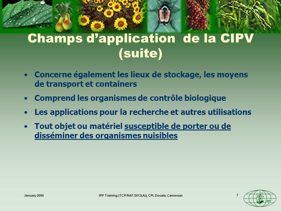 January 2006IPP Training (TCP/RAF/3013(A)), CPI, Douala, Cameroun 18 Rôle du Secrétariat de la CIPV Faciliter Participer grâce à la mise en œuvre du plan de travail du CIMP Remplir les obligations citées au terme de la CIPV Assistance technique –À tous les niveaux