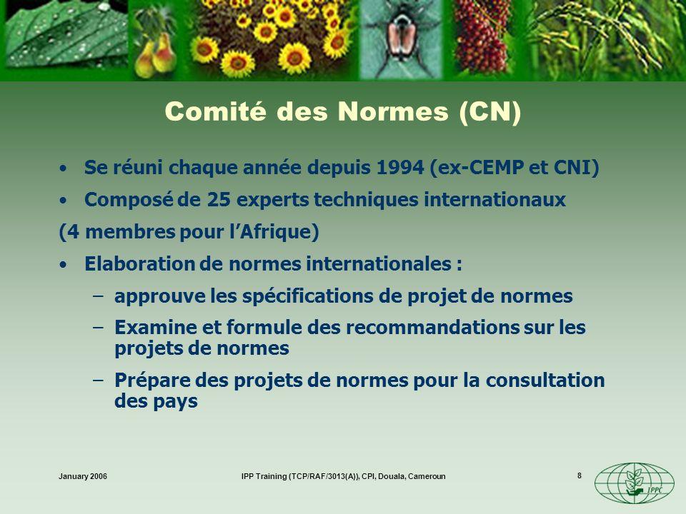 January 2006IPP Training (TCP/RAF/3013(A)), CPI, Douala, Cameroun 9 Les normes prioritaires sont identifiées par le CIMP Groupe dexperts invités à préparer des projets de normes Comité des normes Consultation des pays Comité des normes Adoption par le CIMP 24 NIMPs déjà approuvées Programme pour lélaboration de normes