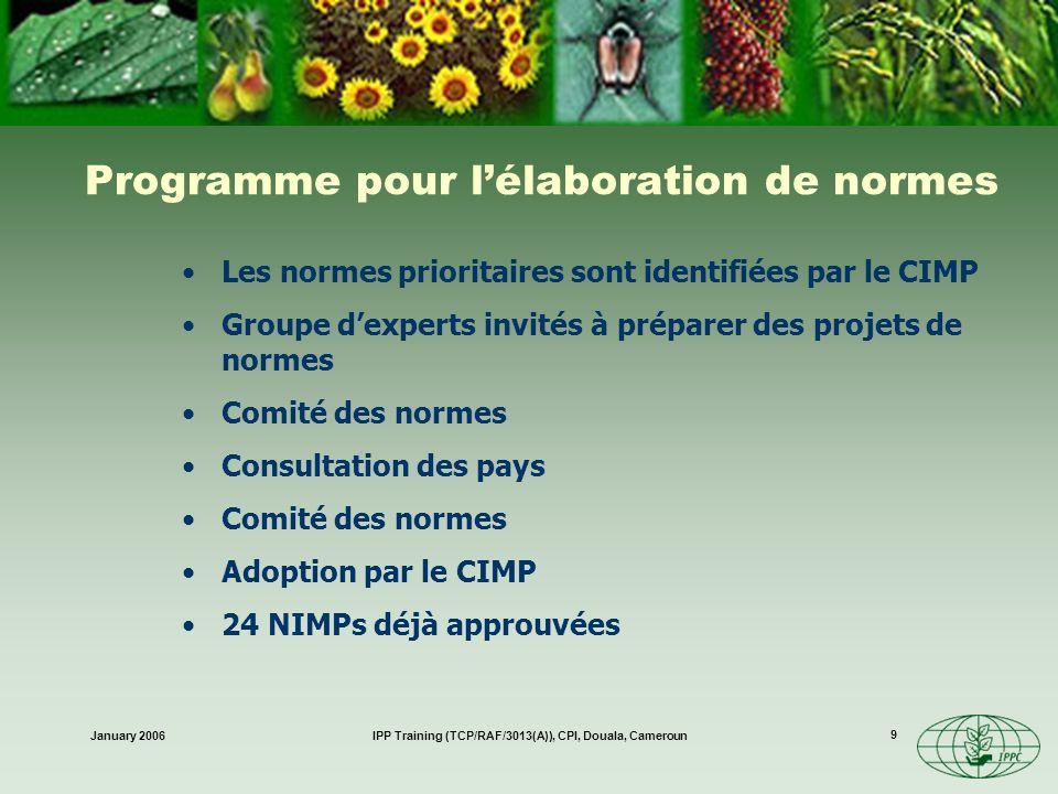 January 2006IPP Training (TCP/RAF/3013(A)), CPI, Douala, Cameroun 20 Obligations des ONPVs Données techniques et biologiques nécessaires pour les ARP - Article VIII 1(a) Points dentrée - Article VII 2(d) Modalités dorganisation de la protection des végétaux - Article IV 4 Mesures durgence - Article VII 6 Exigences, restrictions et interdictions phytosanitaires - Article VII 2(b) Informations appropriées sur la situation des organismes nuisibles - Article VII 2(j) Raisons des exigences, restrictions et interdictions phytosanitaires - Article VII 2(c)