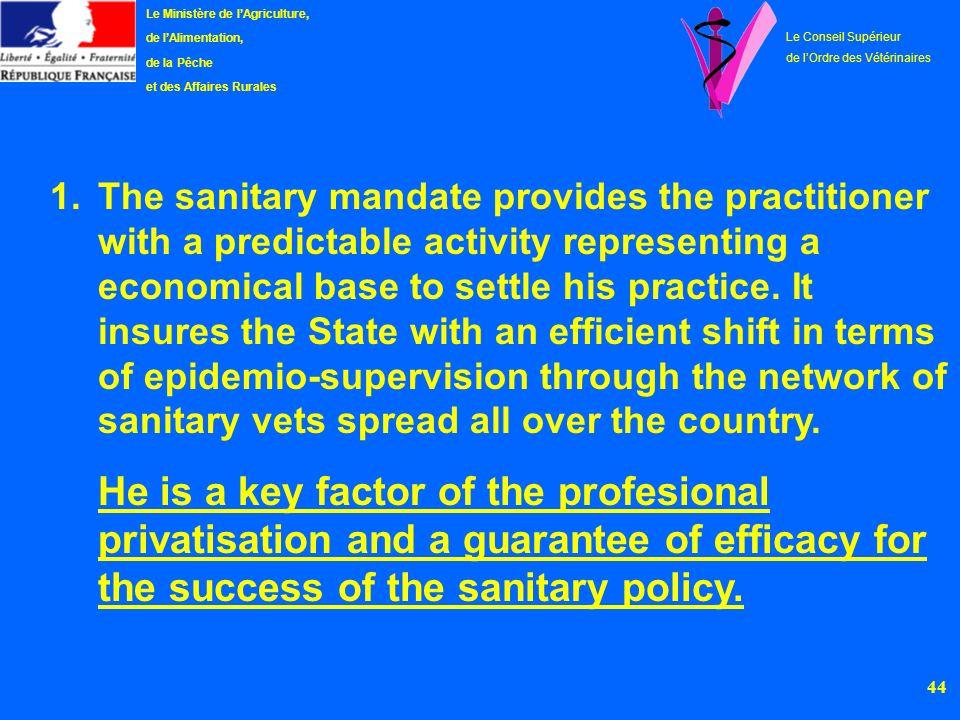 45 Le Ministère de lAgriculture, de lAlimentation, de la Pêche et des Affaires Rurales Le Conseil Supérieur de lOrdre des Vétérinaires 2.