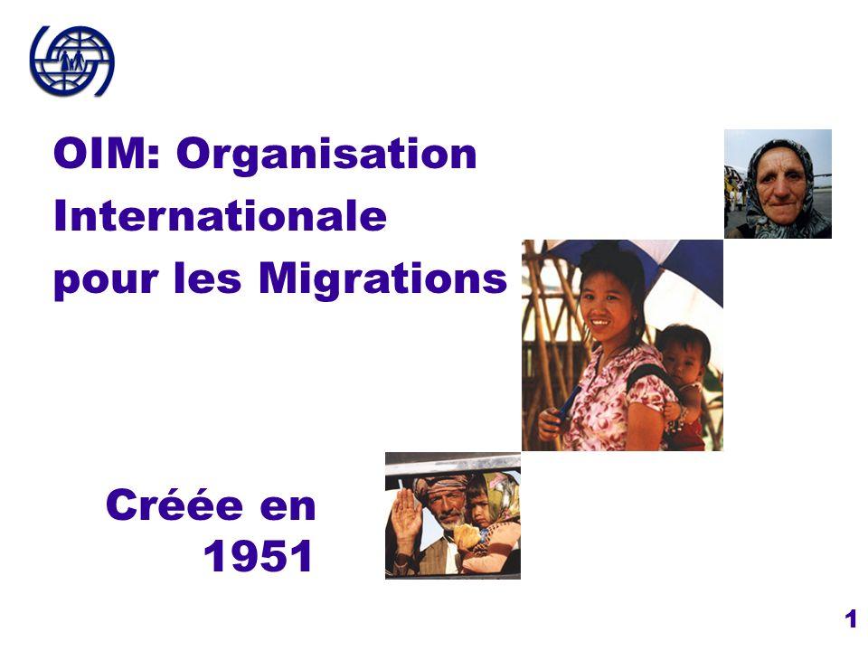 1 Créée en 1951 OIM: Organisation Internationale pour les Migrations