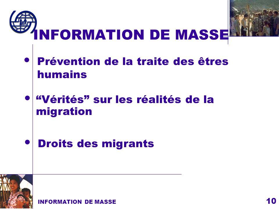 10 INFORMATION DE MASSE Droits des migrants Prévention de la traite des êtres humains Vérités sur les réalités de la migration