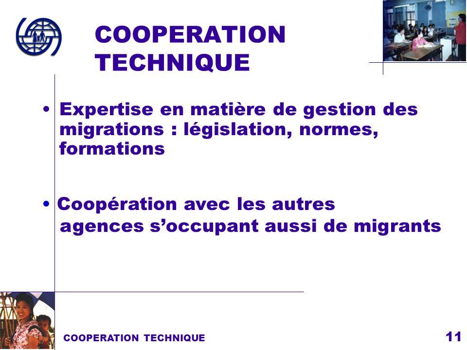 11 COOPERATION TECHNIQUE Expertise en matière de gestion des migrations : législation, normes, formations COOPERATION TECHNIQUE Coopération avec les a