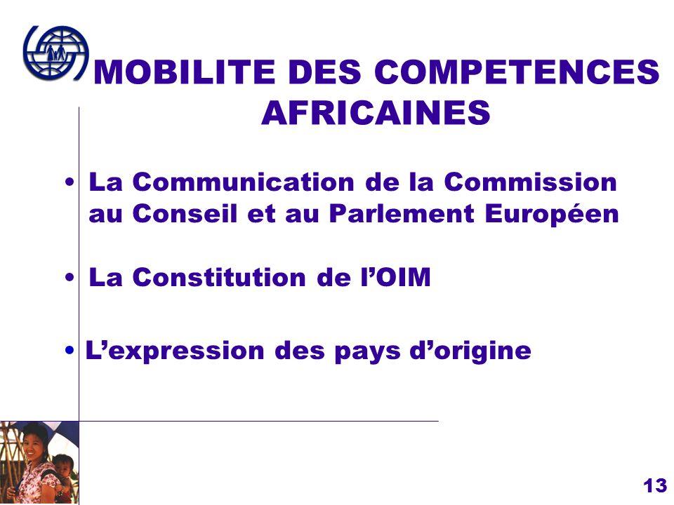13 MOBILITE DES COMPETENCES AFRICAINES La Communication de la Commission au Conseil et au Parlement Européen Lexpression des pays dorigine La Constitu