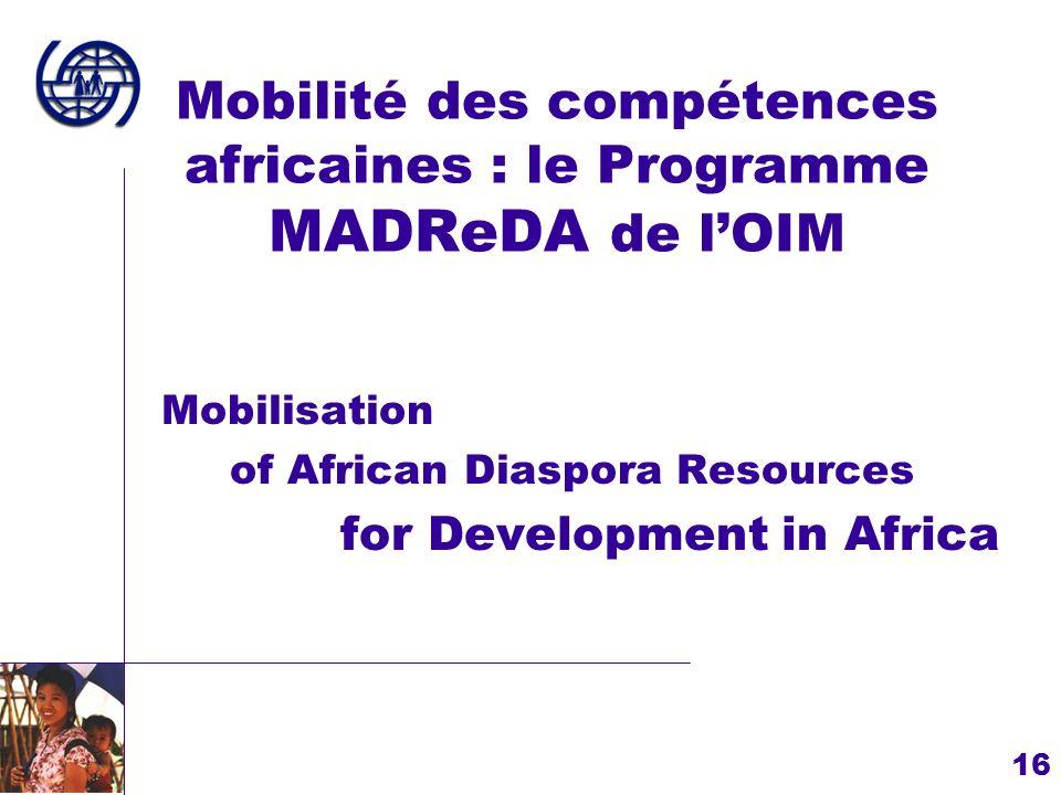 16 Mobilité des compétences africaines : le Programme MADReDA de lOIM Mobilisation of African Diaspora Resources for Development in Africa