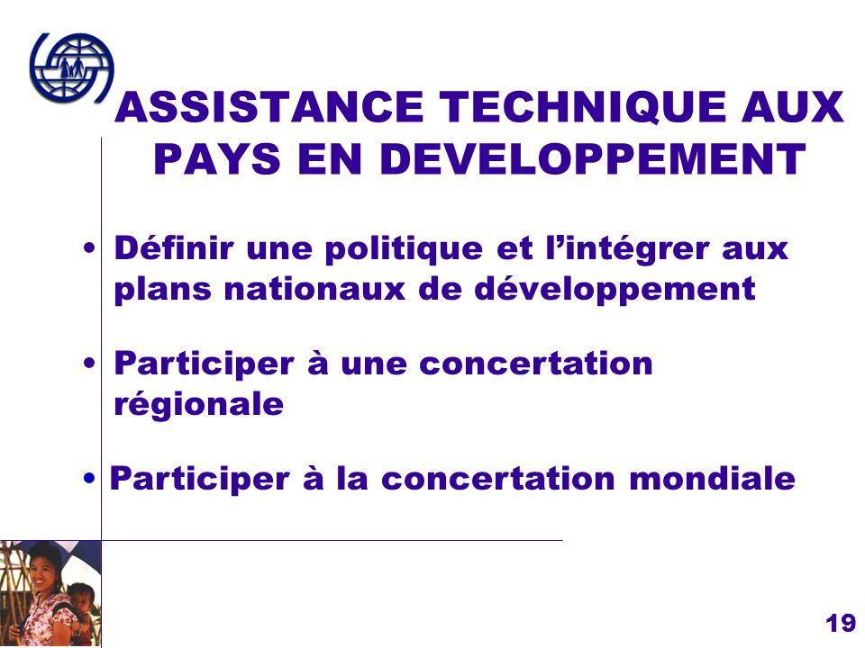 19 ASSISTANCE TECHNIQUE AUX PAYS EN DEVELOPPEMENT Définir une politique et lintégrer aux plans nationaux de développement Participer à la concertation