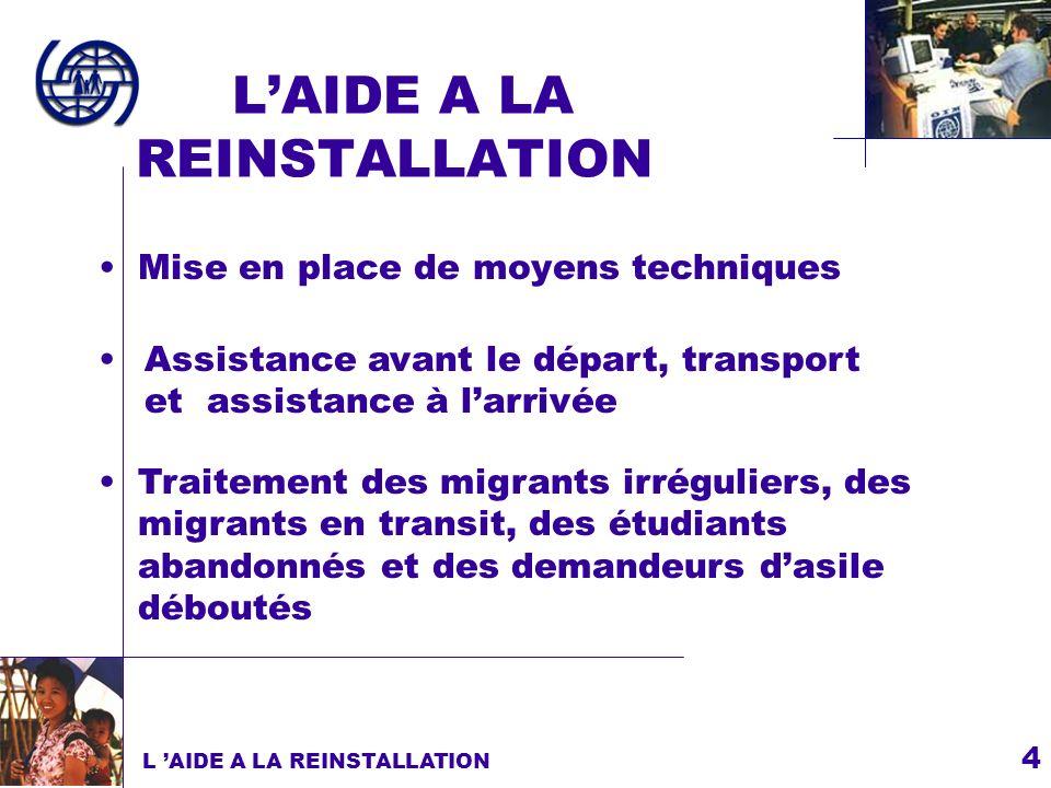 4 LAIDE A LA REINSTALLATION Mise en place de moyens techniques L AIDE A LA REINSTALLATION Assistance avant le départ, transport et assistance à larriv