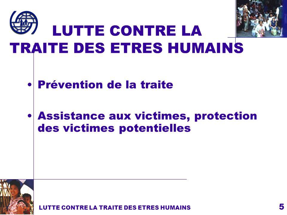 5 LUTTE CONTRE LA TRAITE DES ETRES HUMAINS Prévention de la traite LUTTE CONTRE LA TRAITE DES ETRES HUMAINS Assistance aux victimes, protection des vi