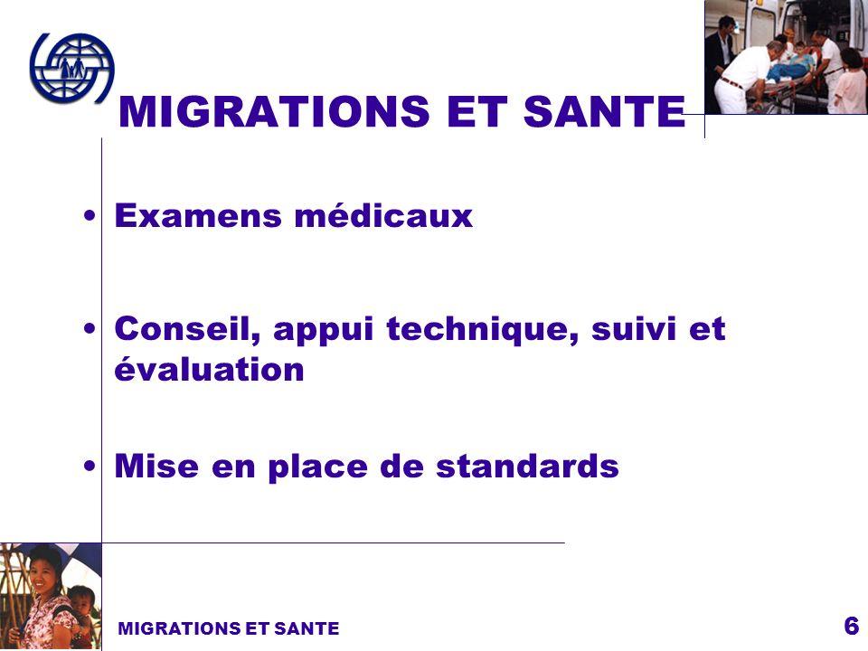 6 MIGRATIONS ET SANTE Examens médicaux MIGRATIONS ET SANTE Mise en place de standards Conseil, appui technique, suivi et évaluation