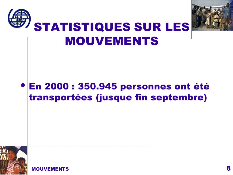 8 STATISTIQUES SUR LES MOUVEMENTS MOUVEMENTS En 2000 : 350.945 personnes ont été transportées (jusque fin septembre)