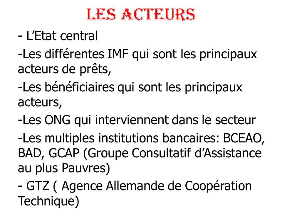 LES ACTEURS - LEtat central -Les différentes IMF qui sont les principaux acteurs de prêts, -Les bénéficiaires qui sont les principaux acteurs, -Les ON