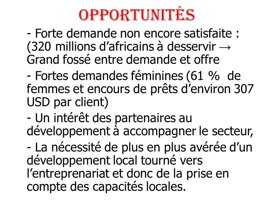 Opportunités - Forte demande non encore satisfaite : (320 millions dafricains à desservir Grand fossé entre demande et offre - Fortes demandes féminin