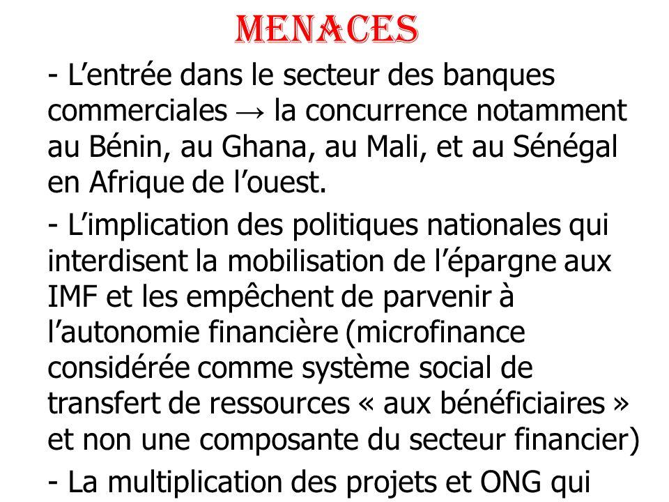 menaces - Lentrée dans le secteur des banques commerciales la concurrence notamment au Bénin, au Ghana, au Mali, et au Sénégal en Afrique de louest. -
