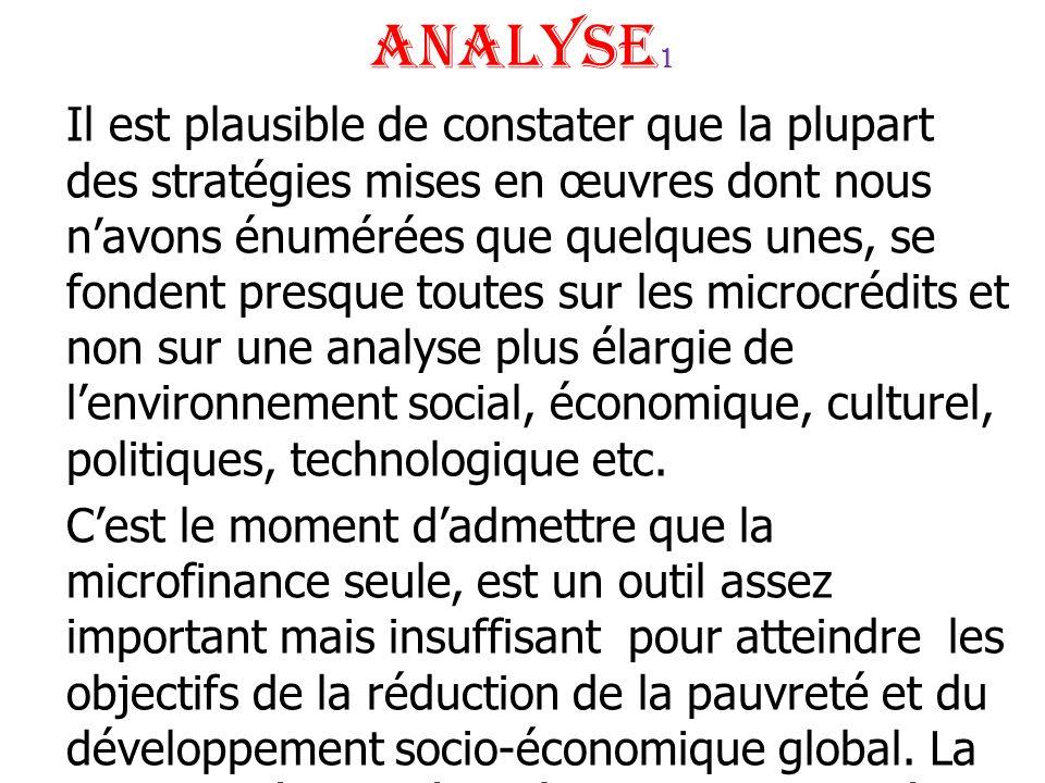 Analyse 1 Il est plausible de constater que la plupart des stratégies mises en œuvres dont nous navons énumérées que quelques unes, se fondent presque