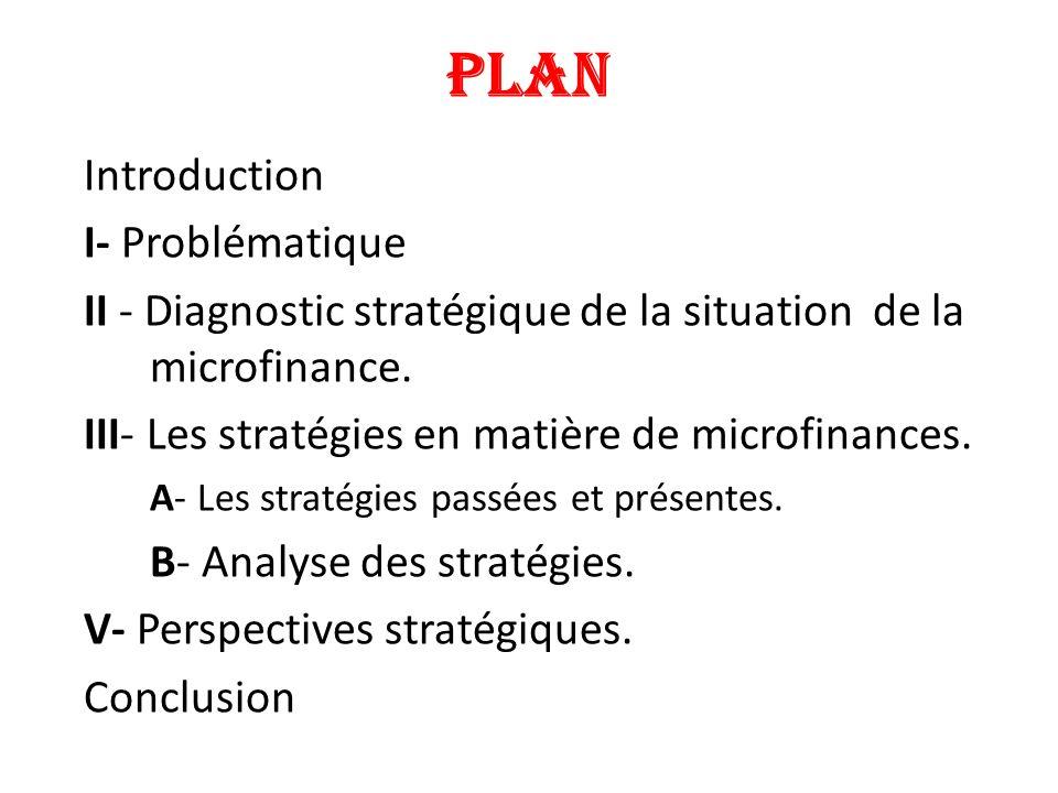 PLAN Introduction I- Problématique II - Diagnostic stratégique de la situation de la microfinance. III- Les stratégies en matière de microfinances. A-