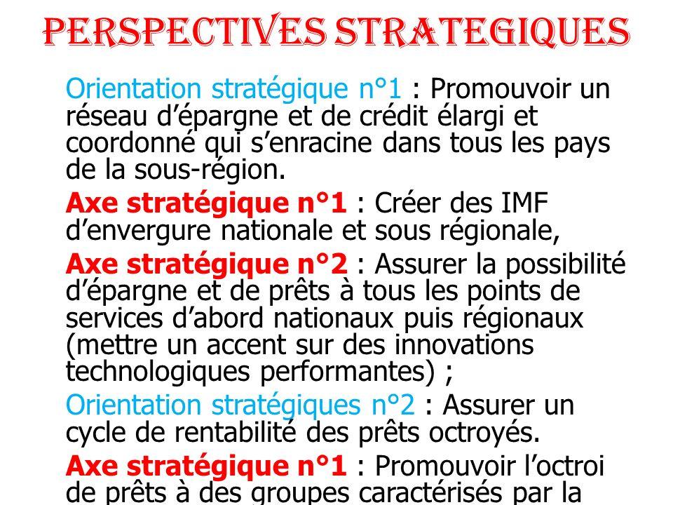 PERSPECTIVES STRATEGIQUES Orientation stratégique n°1 : Promouvoir un réseau dépargne et de crédit élargi et coordonné qui senracine dans tous les pay