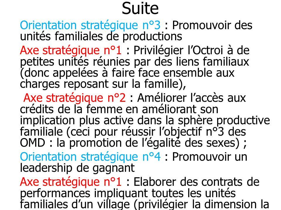 Suite Orientation stratégique n°3 : Promouvoir des unités familiales de productions Axe stratégique n°1 : Privilégier lOctroi à de petites unités réun