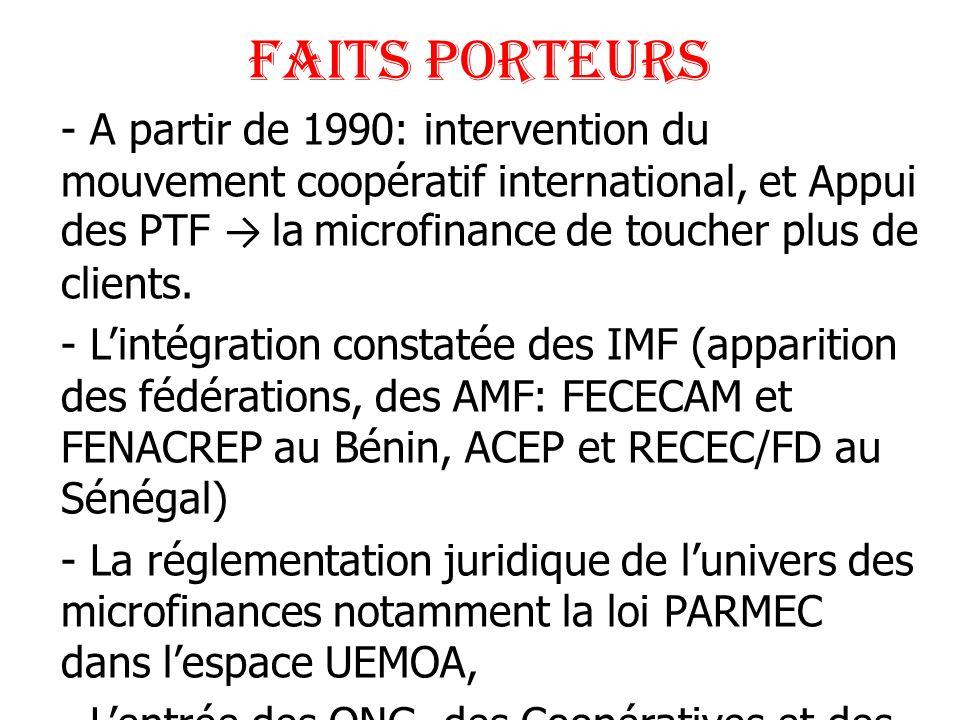 FAITS PORTEURS - A partir de 1990: intervention du mouvement coopératif international, et Appui des PTF la microfinance de toucher plus de clients. -