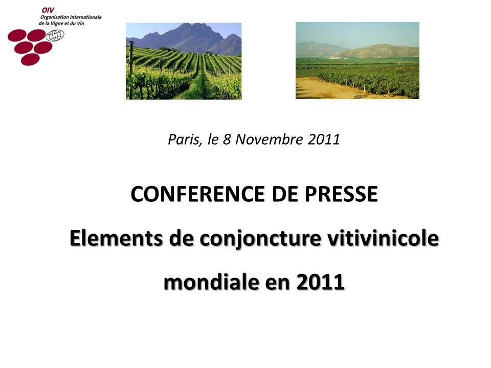 Paris, le 8 Novembre 2011 CONFERENCE DE PRESSE Elements de conjoncture vitivinicole mondiale en 2011